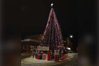 Thomas Shura donated a 33-foot spruce tree for display on Kenora, Ont.'s Main Street.