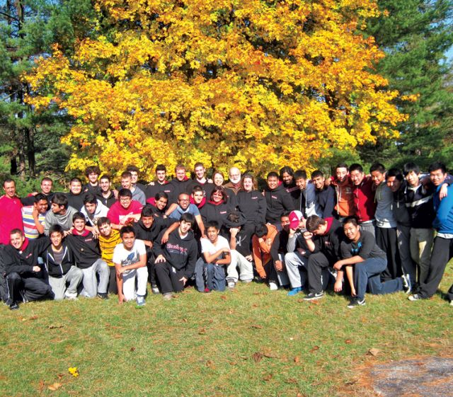 Grade 11 students from Brebeuf College School in Toronto attend the Kairos VII retreat in Pickering last fall.