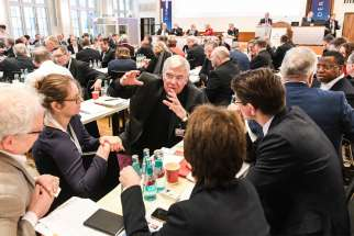 Auxiliary Bishop Karlheinz Diez of Fulda speaks Jan. 31, 2020, with synodal assembly participants in Frankfurt.