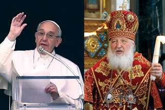 Pope Francis, left, was to meet Russian Orthodox Patriarch Kirill Feb. 12 in Cuba. Ukrainian Catholics hope they will be treated as a full partner in the historic dialogue between Rome and Moscow.