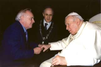 Matercare International's Dr. Robert Walley meets with Pope John Paul II.