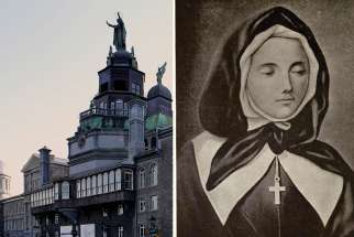 The Mother of God statue atop the Notre-Dame-de-bon-Secours chapel overlooks the Montreal harbour. The statue was built by St. Marguerite Bourgeoys, the founder of the Congregation of Notre Dame.