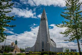 The Hallgrímskirkja is the tallest church in Reykjavík, Iceland, at 74.5 metres.