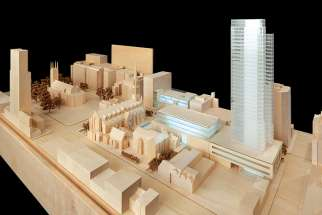 An artist's model of what Cathedral Square might some day look like.