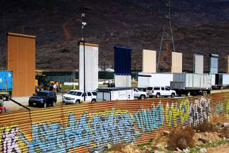 Border wall prototypes are seen near San Diego March 12. Image taken from Las Torres, Mexico.