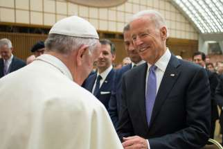 Pope Francis greets U.S. Vice President Joe Biden at a conference on adult stem cell research at the Vatican April 29. Biden officiated a same-sex wedding of two longtime White house aides on August 1.