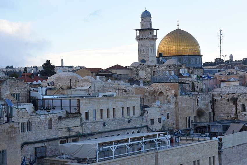The gold-covered Dome of the Rock at the Temple Mount complex is seen in this overview of Jerusalem's Old City Dec. 6. In an open letter to U.S. President Donald Trump, Christian leaders in Jerusalem said U.S. recognition of the city as the capital of Israel could have dire regional consequences.