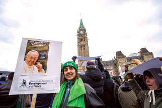 Carroll Woods of Ottawa was one of 25,000 who marched on Parliament Hill Nov. 29 calling for real action on climate change.
