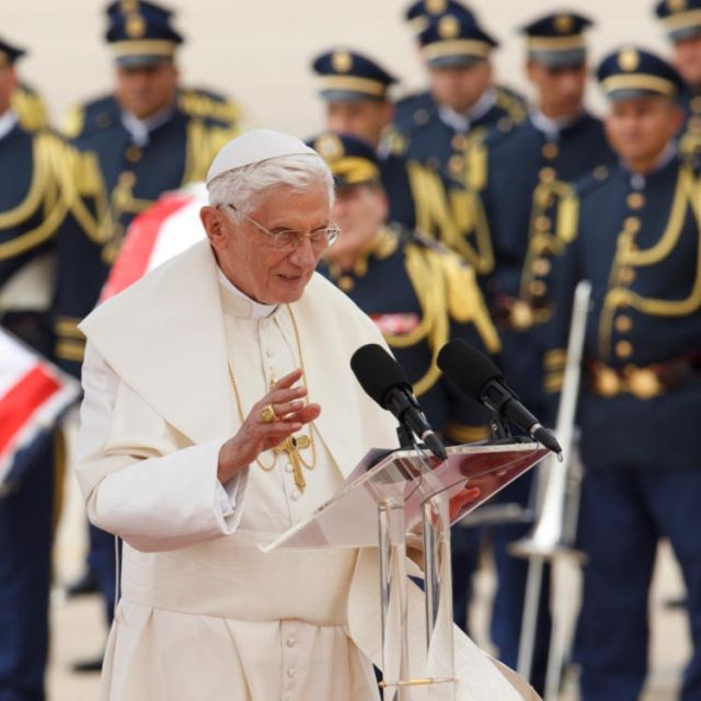 Pope Benedict XVI waves during welcoming ceremony to begin three-day visit to Lebanon