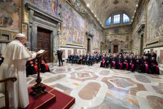 Pope Francis leads the opening of the 91st judicial year of the Vatican City state court during an audience in the Apostolic Palace at the Vatican Feb. 15, 2020. In mid-March Pope Francis updated the norms governing the Vatican City State judiciary system.