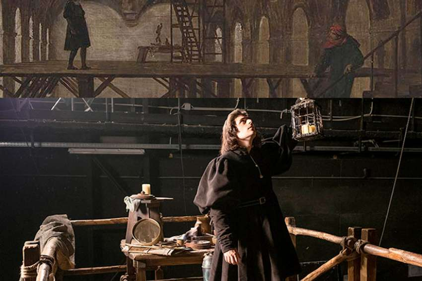 "talian actor Flavio Parenti, as Raphael, in a scene from the Sistine Chapel in the 3D film ""Raphael – Prince of the Arts."""