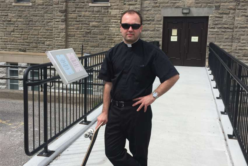 Fr. Stephen DeCarlo, 31, of Immaculate Conception Parish in Peterborough, Ont., reconnected with his inner kid by taking up skateboarding again during the COVID-19 pandemic.