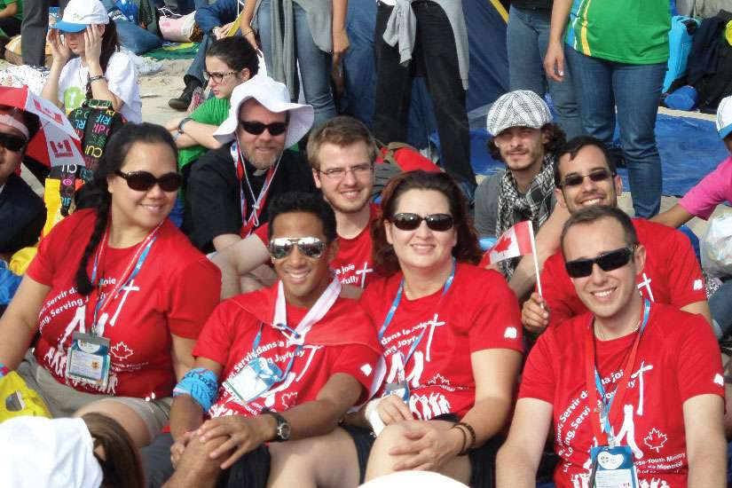 Isabel Correa, third from left, at WYD 2011 in Spain. She said the purpose of a pilgrimage is to go on a journey to seek the Lord