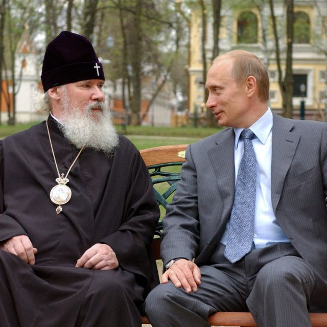 Following a February order by Russian President Vladimir Putin to conduct checks on NGOs in Russia, the local Catholic Church has seen a number of raids on its parishes and charities. Putin is seen here with Russian Orthodox Patriarch Alexy II in this 2008 CNS file photo.