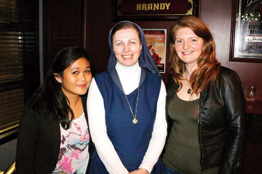 Sr. Helena Burns (centre) with event organizers Sheena Devota (left) and Erin McDougall.