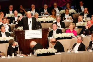 Republican U.S. presidential nominee Donald Trump addresses the audience during the 71st annual Alfred E. Smith Memorial Foundation Dinner at the Waldorf Astoria hotel in New York City Oct. 20.