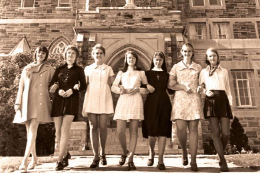 Brescia students in 1970 with their Ursuline teacher.