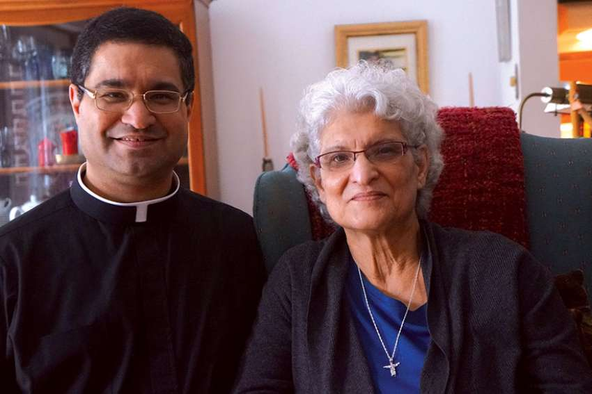Fr. Hezuk Shroff converted from Zoroastrianism 22 years ago. He was ordained a priest six years ago. On the Easter Vigil, he will baptize his mother Vera Shroff.