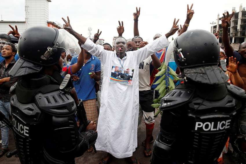 Supporters of Felix Tshisekedi, leader of Congo's main opposition party, the Union for Democracy and Social Progress, celebrate Jan. 10 in Kinshasa after he was announced as the winner of the presidential election.
