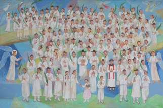A portrait of Paul Yun Ji-chung and 123 martyred companions at their beatification Mass Aug. 16, 2014. More than 200 Korean martyrs are being considered for beatification.