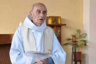 Father Jacques Hamel is seen during a 2016 church service in this handout photo from his parish in Saint-Etienne-du-Rouvray, France. Vatican News reported March 9 that the Archdiocese of Rouen concluded its sainthood inquiry into the life and death of a French priest who was killed while celebrating Mass.
