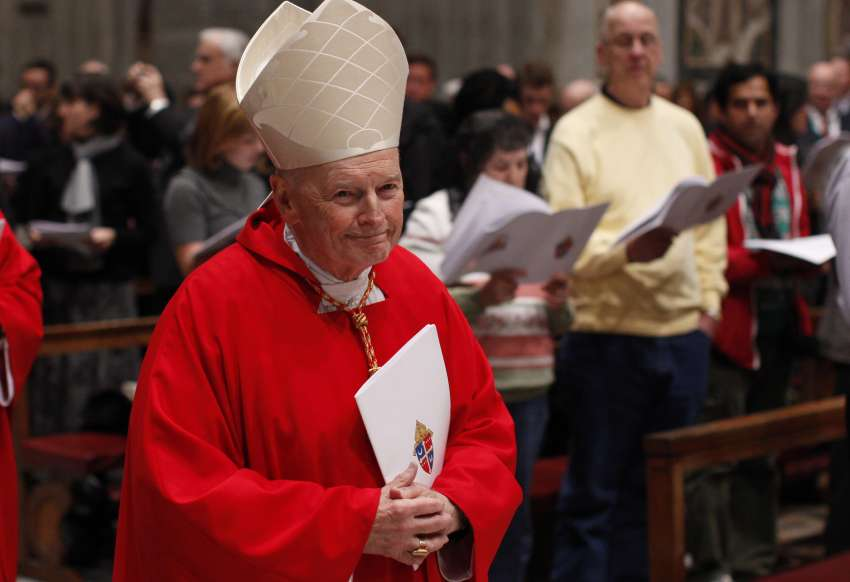 Then-Cardinal Theodore E. McCarrick, retired archbishop of Washington, arrives in procession for a Mass of thanksgiving for Cardinal Donald W. Wuerl of Washington in St. Peter's Basilica at the Vatican Nov. 22, 2010.
