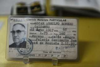 The driver's license of Archbishop Oscar Romero is seen in a San Salvador museum May 21, two days before the beatification of the archbishop, who was shot by unidentified gunmen as he celebrated Mass March 24, 1980.
