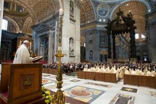 Pope Francis speaks as he celebrates the opening Mass of the general Assembly of Caritas Internationalis in St. Peter's Basilica at the Vatican May 23, 2019.