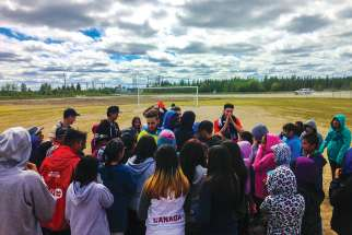 Players from the Bishop Marrocco/Thomas Merton Royals run a soccer camp in the northern community of Attawapiskat. The team is raising funds to head back north this summer to run another camp.