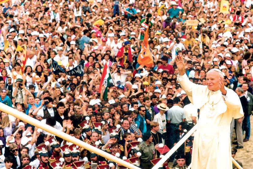 Pope John Paul II greets the World Youth Day crowd in Czestochowa, Poland, in 1992. An estimated 1.5 million people from 80 countries attended the third international World Youth Day.