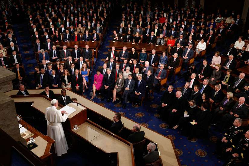 Pope Francis addresses a joint meeting of Congress at the U.S. Capitol in Washington Sept. 24. In the first such speech by a pope, he called on Congress to stop bickering as the world needs help.
