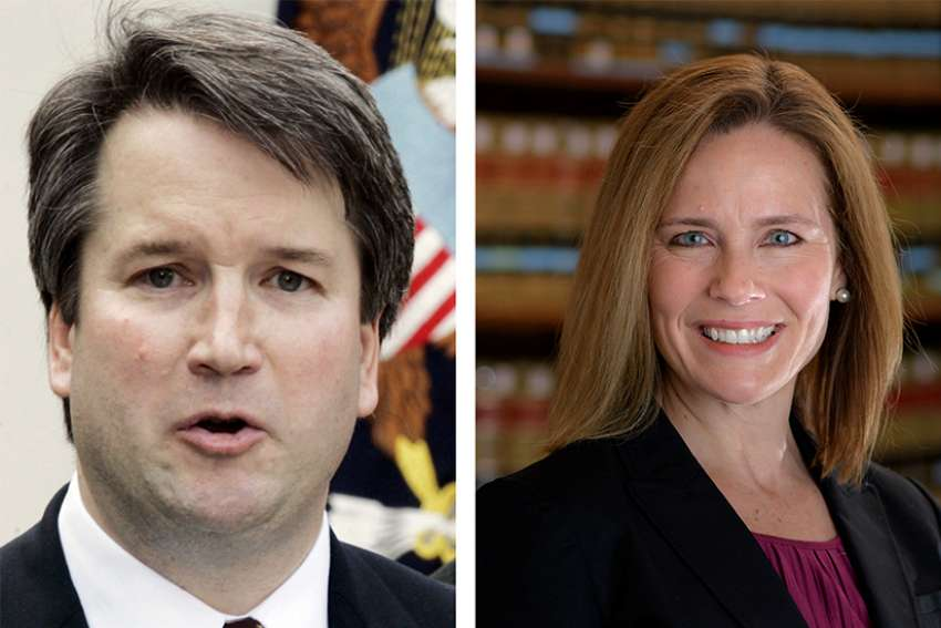 Brett Kavanaugh, a judge on the U.S. Court of Appeals for the District of Columbia Circuit, and Amy Coney Barrett, a judge on the U.S. Court of Appeals for the 7th Circuit, are among President Donald Trump's potential nominees to replace U.S. Supreme Court Justice Anthony Kennedy. Both Kavanaugh and Barrett are Catholic.
