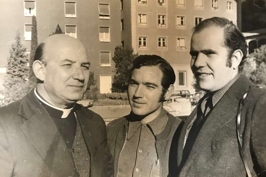 Bishop Enrique Angelelli Carletti of La Rioja, Argentina, is shown in a 1974 photo taken in Germany with two collaborators from his rural movement ministry, which promoted co-ops for small farmers. The bishop's vehicle was run off the road by assassins in 1976.