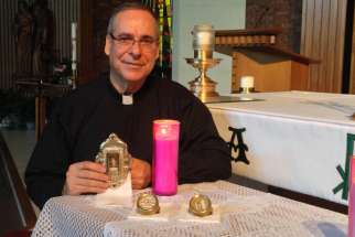 Fr. Guy Desrochers has been bringing the match-making miracles of St. Anne to parishioners of the Archdiocese of Toronto during fall tour with three relics of the saint. Photo courtesy of Fr. Guy Desrochers.