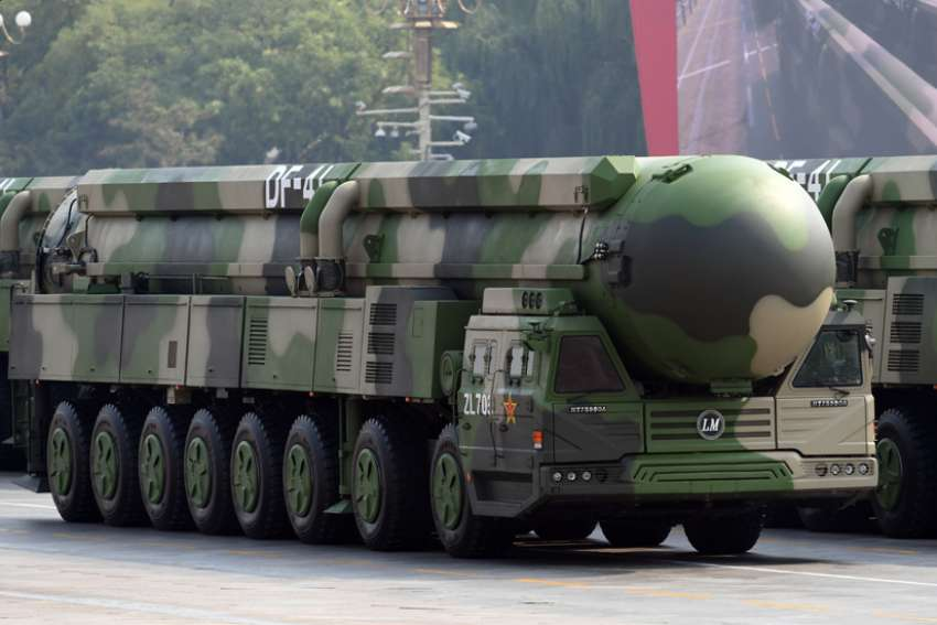 "A Dongfeng-41 intercontinental strategic nuclear missiles group formation is seen Oct. 1, 2019, in Beijing. Pope Francis' top aide made no secret of what will be on the pope's mind when he visits Hiroshima and Nagasaki, Japan, Nov. 24: ""the total elimination of nuclear weapons."""