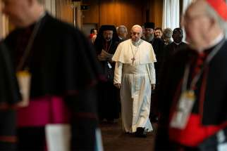 Pope Francis is seen Feb. 22, 2019, the second day of the Vatican meeting on the protection of minors.