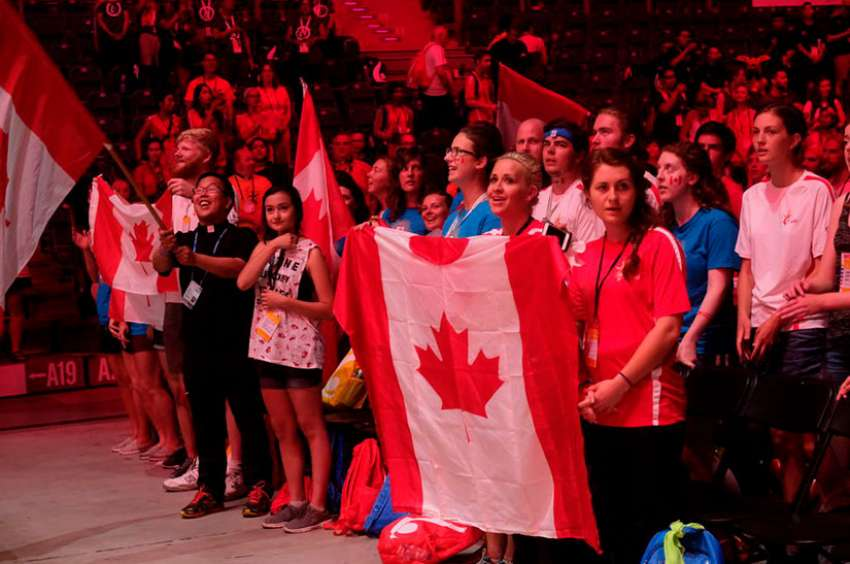 Canadian youth gather at the TAURON Arena in Krakow, Poland during World Youth Day July 26, 2016.
