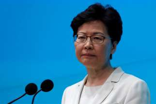 Hong Kong chief executive Carrie Lam June 18, 2019, reissued an apology to the Chinese territory's people for the conflict over an extradition law amendment that has provoked mass demonstrations. Cardinal John Tong Hon, apostolic administrator of the Diocese of Hong Kong, called on Lam to withdraw the bill.