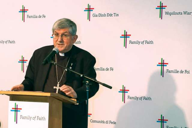 Cardinal Thomas Collins speaks at the May launch of the Family of Faith campaign, which has surpassed $40 million in donations to date.