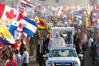 Pope Francis greets the crowd before celebrating Mass for World Youth Day pilgrims in Panama City in January 2019. Sociologists contend churches need to be actively working with millennials to give them the tools for good decision-making.