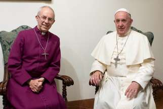 Pope Francis and Anglican Archbishop Justin Welby of Canterbury, leader of the Anglican Communion, meet Nov. 13, 2019, in the pope's Vatican residence, the Domus Sanctae Marthae. The Vatican press office said the pope and archbishop agreed they would travel together to South Sudan if political leaders there manage to fulfill their promise to form a transitional government of national unity within the next 100 days.