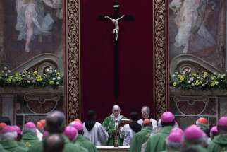 Pope Francis and the heads of bishops' conferences from around the world attend a Mass on the last day of the four-day meeting on the protection of minors in the church at the Vatican Feb. 24, 2019.