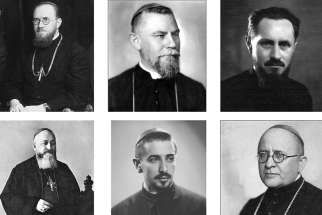 Pictured are six of seven Romanian Catholic bishops who died during a fierce anti-religious campaign waged under the communist regime in Romania. Pope Francis will beatify them in Romania June 2. Clockwise: Auxiliary Bishop Vasile Aftenie of Fagaras and Alba Iulia; Bishop Ioan Balan of Lugoj, Auxiliary Bishop Tit Liviu Chinezu of Fagaras and Alba Iulia; Bishop Valeriu Traian Frentiu of Oradea Mare; Bishop Ioan Suciu, apostolic administrator of Fagaras and Alba Iulia; and Bishop Alexandru Rusu of Maramures. Not pictured is Cardinal Iuliu Hossu of Gherla.