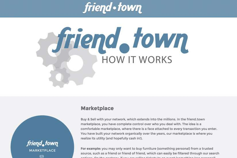 A screenshot of friend.town shows how users can buy and sell within a personal network. Users can find housing and organize activities too.