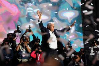 Andres Manuel Lopez Obrador, the new president of Mexico, celebrates with his supporters July 1 after his victory in Mexico City.