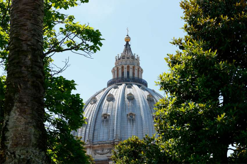 The dome of St. Peter's Basilica at the Vatican.