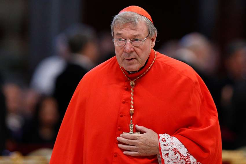 "In this 2015 file photo, Australian Cardinal George Pell, prefect of the Vatican Secretariat for the Economy, is seen at the Vatican. A man Cardinal Pell was convicted of sexually assaulting said he is finding it hard to ""take comfort"" in the cardinal's six-year jail sentence because a request to appeal the conviction is due to be heard June 5."