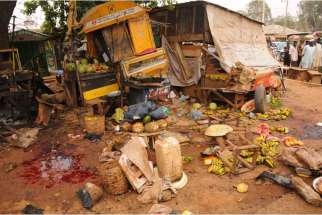 Bomb kills 21 in Jos, Nigeria, Feb. 26.