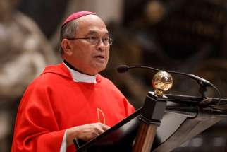 Archbishop Anthony Apuron of Agana, Guam, is pictured in a 2012 photo at the Vatican. The special investigator appointed by Pope Francis is urging the Vatican to remove the archbishop.