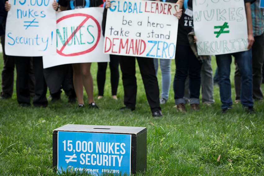 Demonstrators in Washington protest nuclear weapons April 1, 2016 while world leaders were in the U.S. capital for the Nuclear Security Summit.